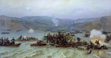 Николай Дмитриевич Дмитриев-Оренбургский. Переправа русской армии через Дунай у Зимницы 15 июня 1877 года