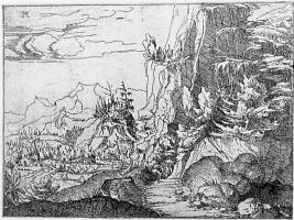 Альбрехт Альтдорфер. Пейзаж с сумрачной скалистой стеной