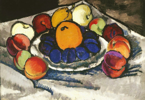 Still life. Fruits on a platter (Blue plums)