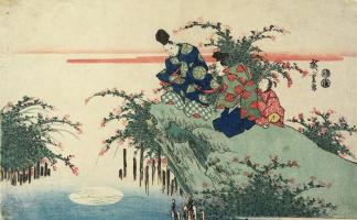 Утагава Хиросигэ. Созерцание отражения луны и кустов клевера на реке Тама