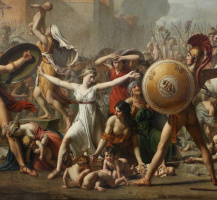 Jacques-Louis David. Sabine women stopping the battle between Romans and sabinyanami. Fragment