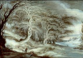 Гейсбрехт Лейтенс. Зимний пейзаж с людьми, гуляющими на берегу замершей реки, где играют дети