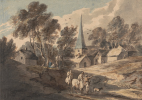 Thomas Gainsborough. Travelling riders on the background of the village