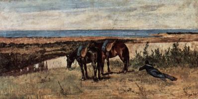 Джованни Фаттори. Солдат с двумя лошадями на берегу моря