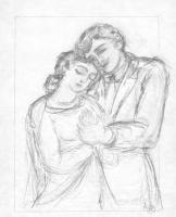 Наталья Сергеевна Гончарова. Маруся и Молодец  (эскиз иллюстрации к поэме М. Цветаевой «Молодец»)