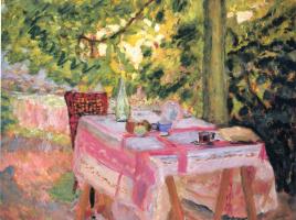 Pierre Bonnard. Pink tablecloth