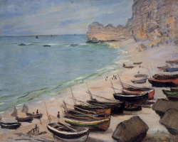 Claude Monet. Boats on the coast at étretat