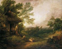 Thomas Gainsborough. Girl with pigs farmhouse