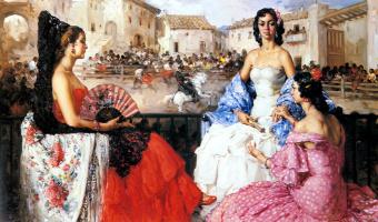Франсиско Родригес Санчес Климент. Элегантные дамы смотрят на быков