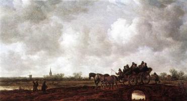 Ян ван Гойен. Конная повозка на мосту