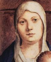 Антонелло да Мессина. Мадонна на троне, фрагмент Пала ди Сан Кассиано, Венеция, деталь: Голова Мадонны