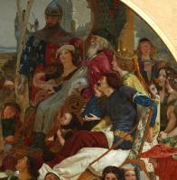 Форд Мэдокс Браун. Джефри Чосер при дворе Эдуарда III. Фрагмент. Эдуард III на троне