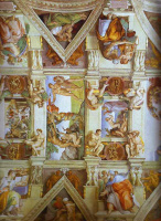 Микеланджело Буонарроти. Частичный вид на потолочные фрески Сикстинской капеллы