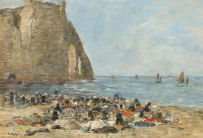 Eugene Boudin. Washerwomen on Etretat beach