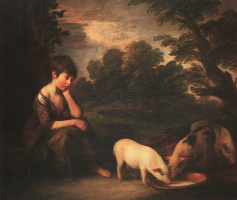 Thomas Gainsborough. Girl with piglets