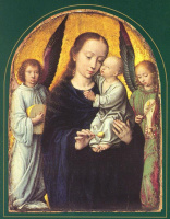 Герард Давид. Мария с младенцем и двумя ангелами