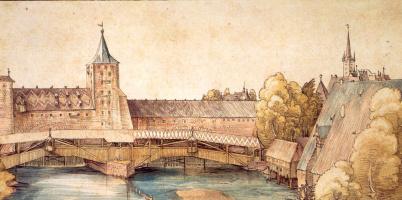 Альбрехт Дюрер. Деревянные сходни у Халленских ворот (ворот на Халле) в Нюрнберге