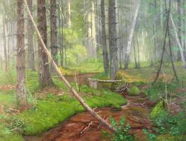 Александр Николаевич Безродных. Ручей в лесу