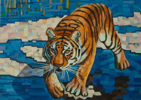 Sergey Volkov. Tiger on a blue background