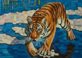 Sergey Volkov. Tiger on a blue background