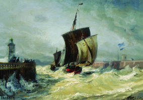 Alexey Petrovich Bogolyubov. Return to the port of Treport in high tide. France, Normandy