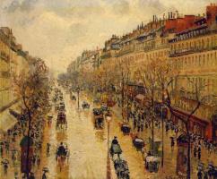 Камиль Писсарро. Бульвар Монмартр. После обеда в дождь.
