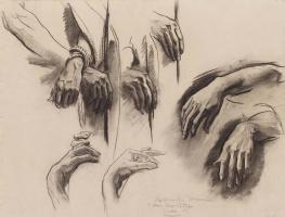 "Джон Сингер Сарджент. Эскиз рук для ""Скорбных тайн"""