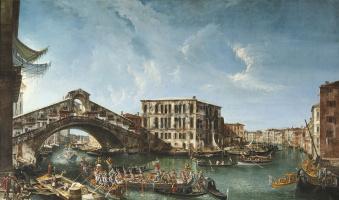 Микеле Мариески. Вид на мост Риальто и Палаццо де Камерленги с торжественным прибытием патриарха Антонио Коррера в 1737 году