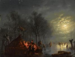 Petrus van Shendel. Skaters in the moonlight.