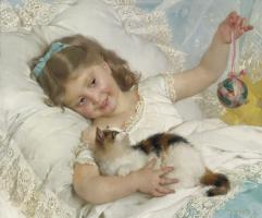 Эмиль Мюнье. Девочка, играющая с котенком