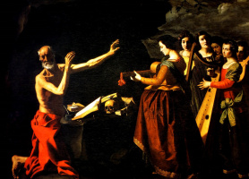 Francisco de Zurbaran. A cycle of paintings for the monastery of the congregation of St. Jerome in Guadalupe. The temptation of St. Jerome
