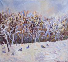 Дмитрий Александрович Мельников. Зимний пейзаж с утками