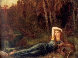 Arthur Hughes. Lying girl in the woods