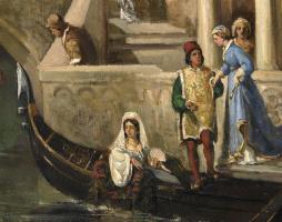 Вильгельм Александрович Котарбинский. Посадка в гондолу венецианской знати. Фрагмент 2