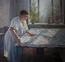 Vasily Daniilovich Ishoev. Portrait of mother. Home routines