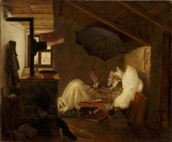 Karl Spitzweg. The poor poet (the original version of the same picture)