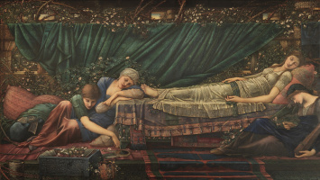 "Edward Coley Burne-Jones. ""Ship of the Roses"" series: Pink arbor"