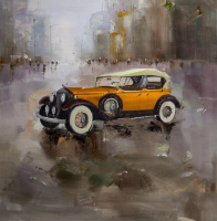 Saveliy Kamsky. Retro car on city background N2