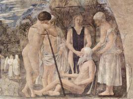 Смерть Адама. Фрагмент фрески в Базилике Святого Франциска в Ареццо
