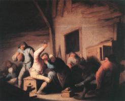 Адриан ван Остаде. Кутеж крестьян в таверне