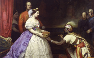The secret of British greatness (Queen Victoria presenting a Bible in the hall for the audience at the Windsor)