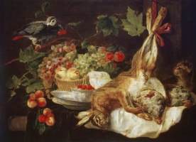 Ян Фейт. Заяц, фрукты и попугай