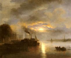 Николас Йоханнес Русенбум. Суда перед гаванью города в лунном свете
