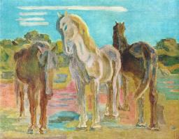 Сакамото. Три лошади на лугу