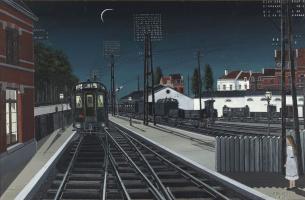 Поль Дельво Бельгия 1897-1994. Вечерний поезд. 1957