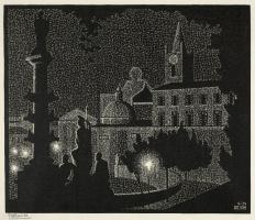 Мауриц Корнелис Эшер. Ночной Рим: Санта-Мария-дель-Пополо