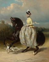 Альфред Дедрё. Женщина в костюме Марии-Антуанетты, скачущая на лошади.