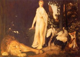 Густав Климт. Обнаженная со зверями на фоне пейзажа (Сказка)