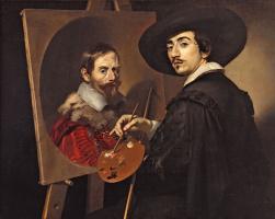 Nikolo Reniery. Self-portrait with easel (Double portrait of Nikola Rainier and Vincenzo Giustiniani)