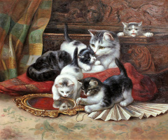 Saveliy Kamsky. A copy of Henrietta's oil painting Ronner-Knip Kittens playing with a fan